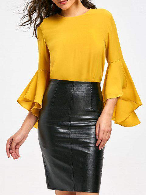 Flare Sleeve Blouse with Flounce - YELLOW XL