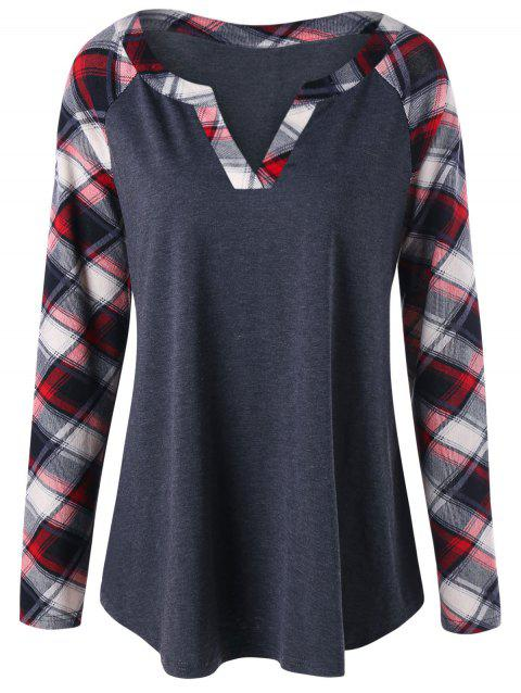 c9070cd3baf7a 41% OFF  2019 Plus Size Raglan Sleeve Plaid Top In BLACK GREY XL ...