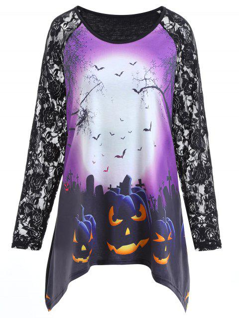 Plus Size Lace Insert Halloween Pumpkin Asymmetrical Tee - BLACK 2XL
