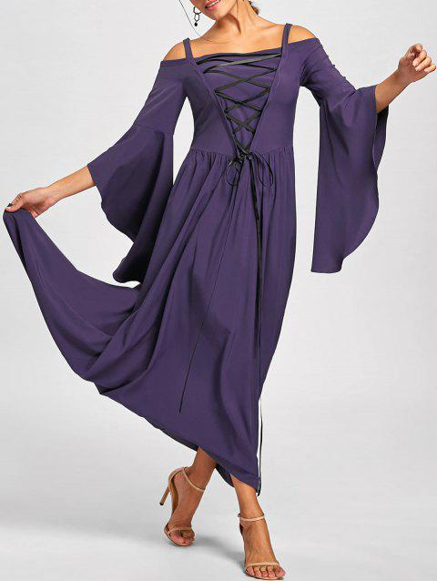 Halloween Lace Up Cold Shoulder Maxi Dress - PURPLE L