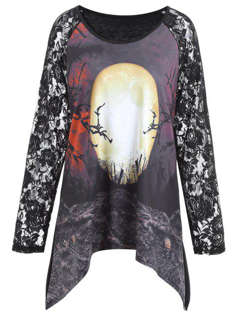 Plus Size Lace Panel Halloween Moon Asymmetrical T-shirt - BLACK 2XL