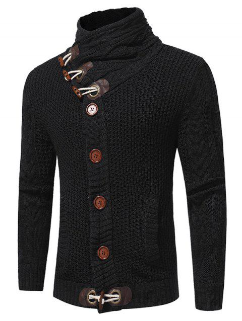 Cowl Neck Single Breasted Horn Button Cardigan - BLACK L