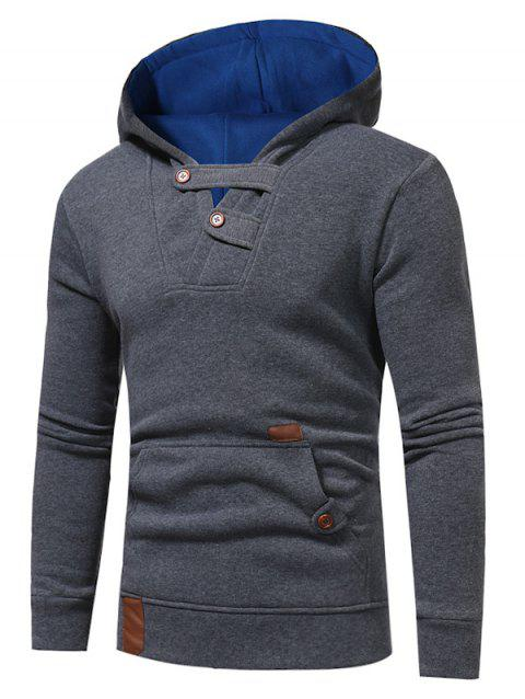 Color Block Hooded Fleece Buttons Hoodie - DEEP GRAY 3XL