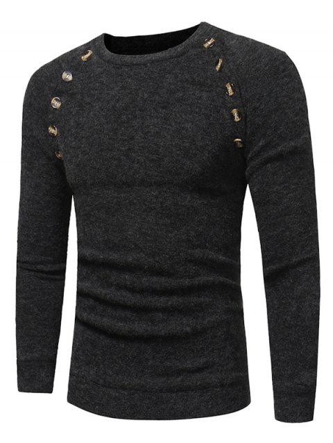 Raglan Sleeve Buttons Embellished Sweater - DEEP GRAY 2XL