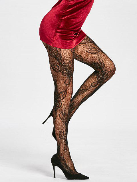 Flower Fishnet See Thru Tights - BLACK ONE SIZE