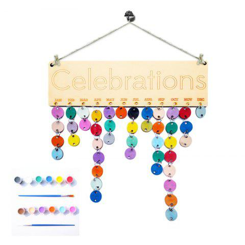 DIY Colorful Wooden Celebrations Birthday Calendar - ROUND