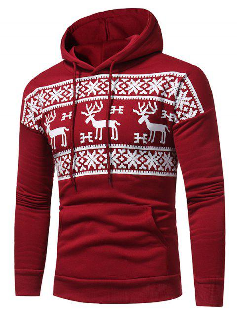 Fleece Snow and Reindeer Print Pullover Hoodie - RED 3XL