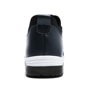Low Top PU Leather Casual Shoes - Bleu 39