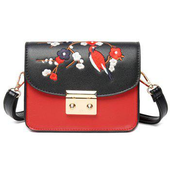 Bird Flower Embroidery Crossbody Bag - BLACK BLACK