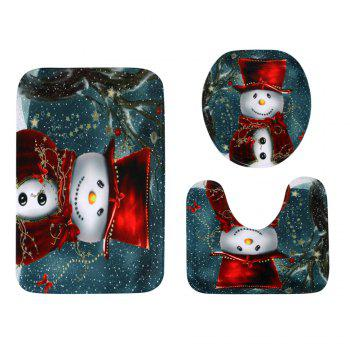Christmas Cloak Snowman Pattern 3 Pcs Bathroom Toilet Mat - COLORMIX