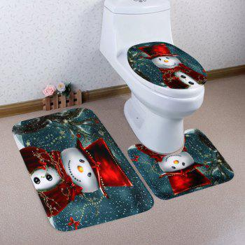 Christmas Cloak Snowman Pattern 3 Pcs Bathroom Toilet Mat