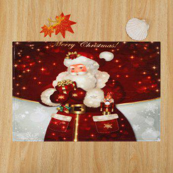 Christmas Santa Claus Antiskid Bath Rug - DARK RED W16 INCH * L24 INCH