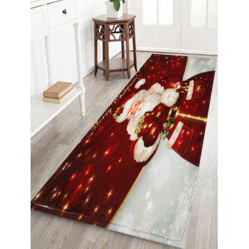 Christmas Santa Claus Antiskid Bath Rug - DARK RED W16 INCH * L47 INCH