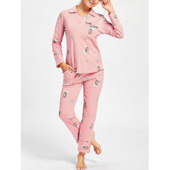 Pineapple Print Long Sleeve PJ Set - PINK PINK