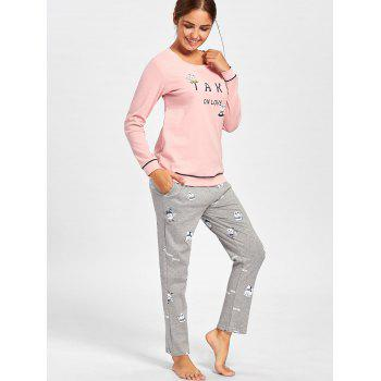 Bears Print Cotton PJ Set with Sleeves - PINK L