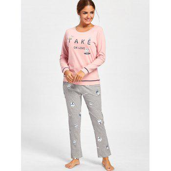 Bears Print Cotton PJ Set with Sleeves - PINK PINK