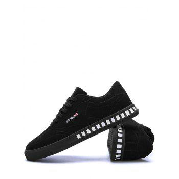 Letter Color Block Stitching Skate Shoes - BLACK BLACK