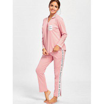 Pajama Tee with Letter Graphic Pants - LIGHT PINK 2XL