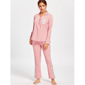 Pajama Tee with Letter Graphic Pants - LIGHT PINK LIGHT PINK