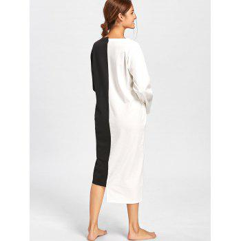 Two Tone Oversized Asymmetric Sleep Dress - BLACK WHITE XL