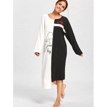 Two Tone Oversized Asymmetric Sleep Dress - BLACK WHITE 2XL