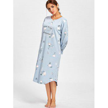 Oversized Print Long Sleeve Pajama Dress - LIGHT BLUE LIGHT BLUE