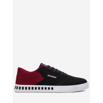 Letter Color Block Stitching Skate Shoes - RED WITH BLACK 42