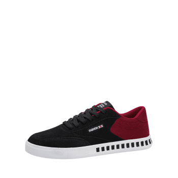Letter Color Block Stitching Skate Shoes - RED/BLACK 39
