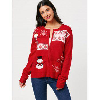 Zip Up Snowman Snowflake Pattern Knitwear - RED ONE SIZE