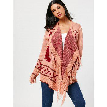 Tassel Open Front Geometric Knit Cardigan - ONE SIZE ONE SIZE