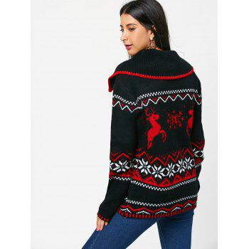 Christmas Snowflake Reindeer Turn Down Collar Sweater - BLACK BLACK