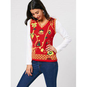 Sleeveless Cartoon Deer V Neck Knit Vest - RED RED