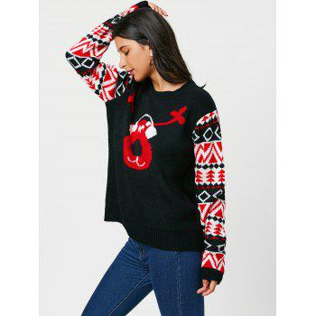 Reindeer Listen To Music Christmas Sweater - BLACK ONE SIZE