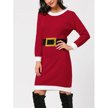 Christmas Waist Belt Print Knit Dress