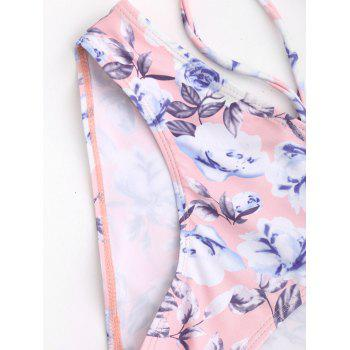 Floral Halter Push Up Bikini Swimwear - COLORMIX L