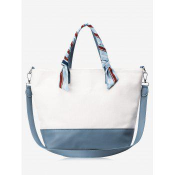 Color Block PU Leather Ribbon Handbag - BLUE AND WHITE BLUE/WHITE