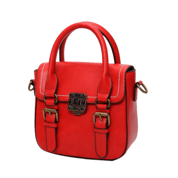 Buckle Straps Stitching Metal Tote Bag - RED