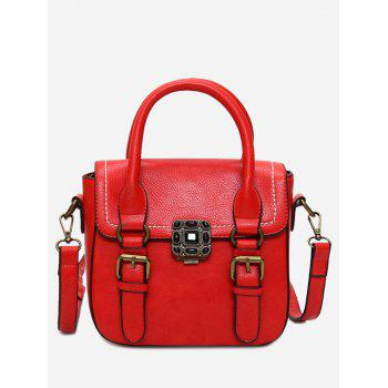 Buckle Straps Stitching Metal Tote Bag - RED RED