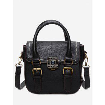 Buckle Straps Stitching Metal Tote Bag - BLACK BLACK