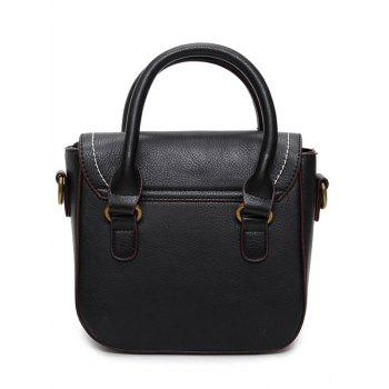 Buckle Straps Stitching Metal Tote Bag -  BLACK