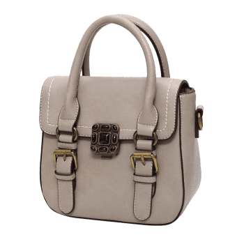 Buckle Straps Stitching Metal Tote Bag -  KHAKI
