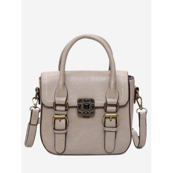 Buckle Straps Stitching Metal Tote Bag - KHAKI KHAKI