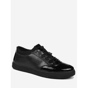 Tie Up Low Top Bright Color Casual Shoes - BLACK 39