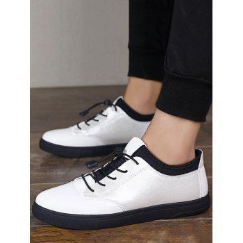 Tie Up Low Top Bright Color Casual Shoes - WHITE 40