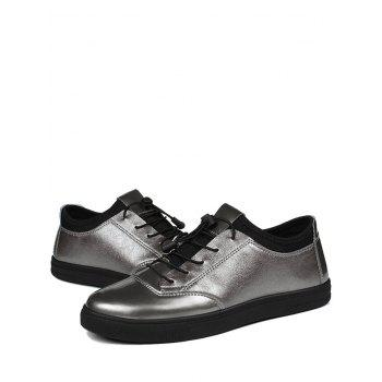 Tie Up Low Top Bright Color Casual Shoes - GUN METAL 39