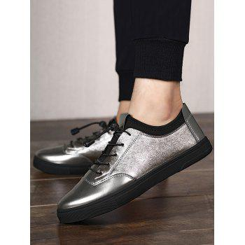 Tie Up Low Top Bright Color Casual Shoes - GUN METAL 40