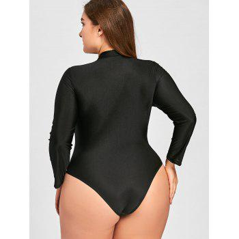 Plus Size Embroidered Long Sleeve Swimsuit - 3XL 3XL
