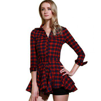 Stylish Turn-Down Collar Checked Print Lace-Up Long Sleeve Dress For Women - RED S