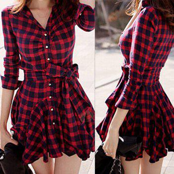 Stylish Turn-Down Collar Checked Print Lace-Up Long Sleeve Dress For Women - RED M