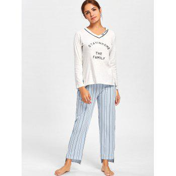 V Neck PJ Tee with Striped Pants - L L